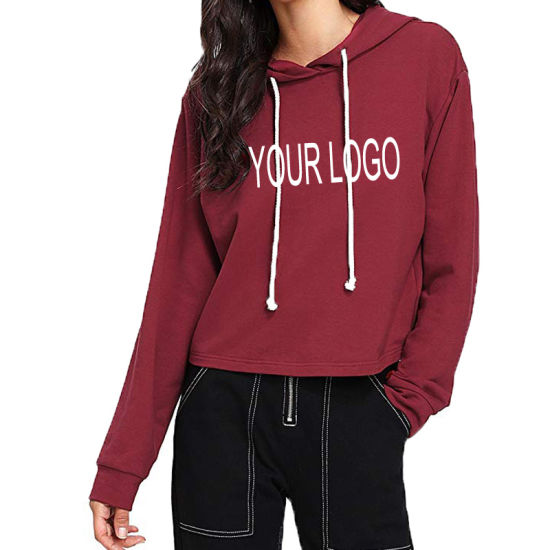 Bulk Wholesale Long Sleeve Custom Fleece Pullover Women Hoodie Printing  with Private Label a62b3ec83c