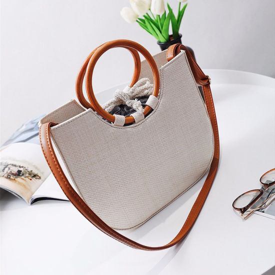 Manufacturers Casual Tote Half Moon Straw Bag with Wicker Handle Straw Handbags for Women