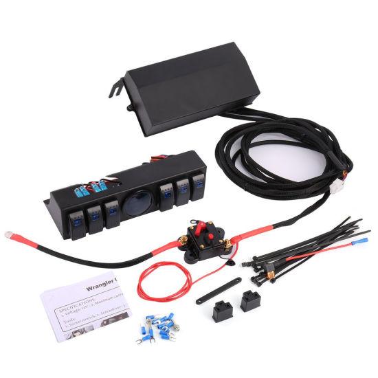 6 Gang Rocker Switch Panel Switch Control Panel system with Voltage Meter Digital Display for Jeep Wrangler Jk Tj