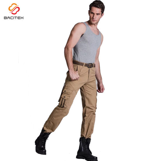 Professional Custom Cotton Cargo Pants Casual Trousers Men Garment