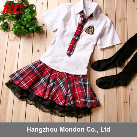 White T-Shirt Mini Skirt England Style High School Uniform pictures & photos