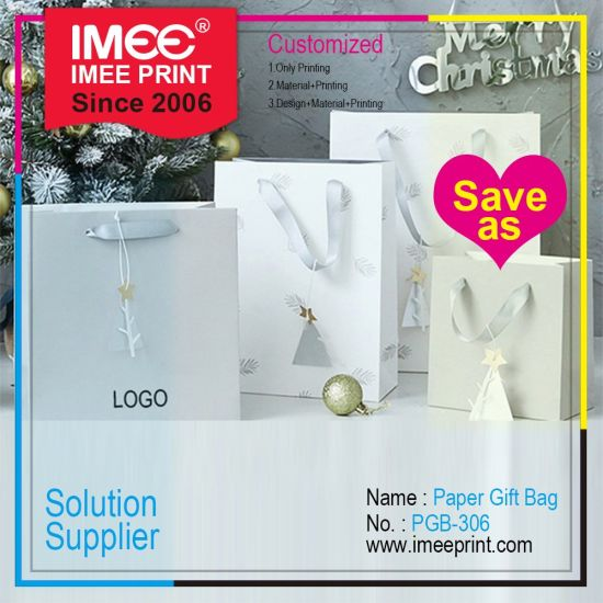 Imee Logo Customized Recycled Printed Fancy White Carboard Coated Art Paper Hand Carry Bag