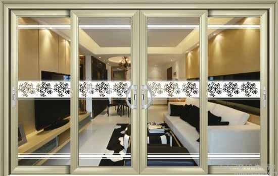 Main Gate Design Double Tempered Glass Aluminum Sliding Door pictures & photos