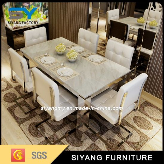 Stainless Steel Furniture Dining Table Set Square Dinner Table