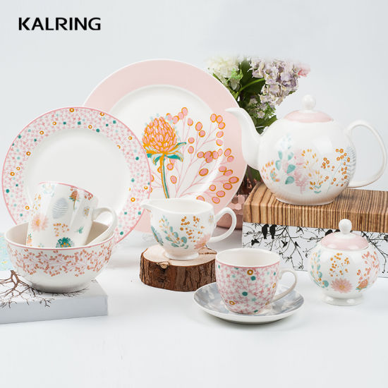 Ceramic Dinner Sets with Flower Design for Spring Season pictures & photos