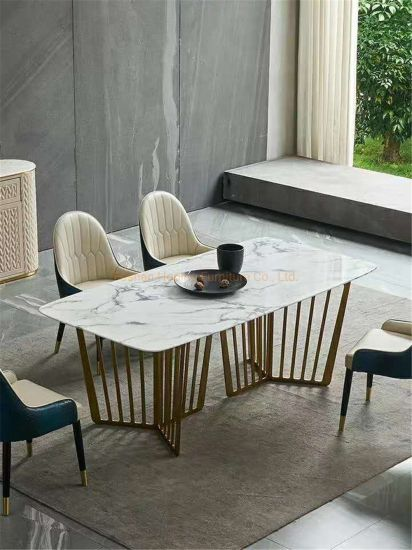Modern Home Furniture Marble Top 1+6 Set White Square Dining Table Set with Leather Chair