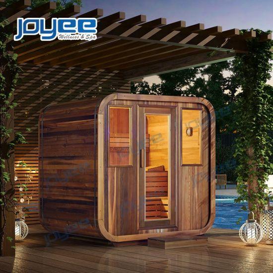 Garden Traditional Fragant Wooden Sauna House 4 6 8 People Customized Big Size Large Sauna Room LED Outdoor Sauna Room