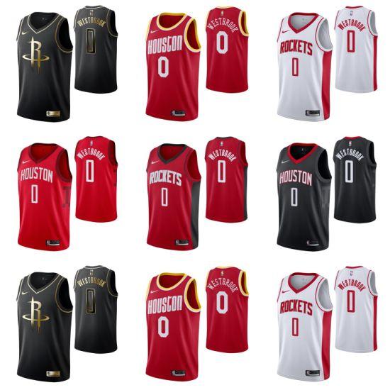 2019 N-B-a Draft Houston Rockets 0 Russell Westbrook Basketball Jerseys