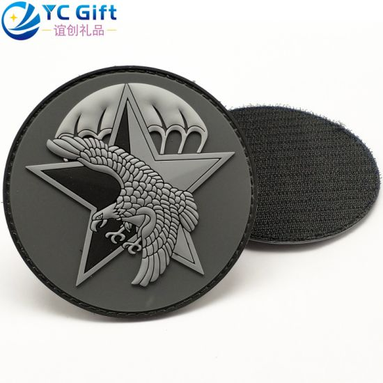 Custom Eco-Friendly Denim Pants Jean Jacket Silicone Rubber Label Wholesale Star Eagle Logo Military Police Uniform Tactical Gear PVC Patches Velcro with Design