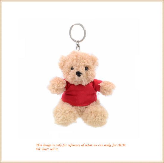 Stuffed Teddy Bear in T-Shirt Key Finder Lovely Clip-on