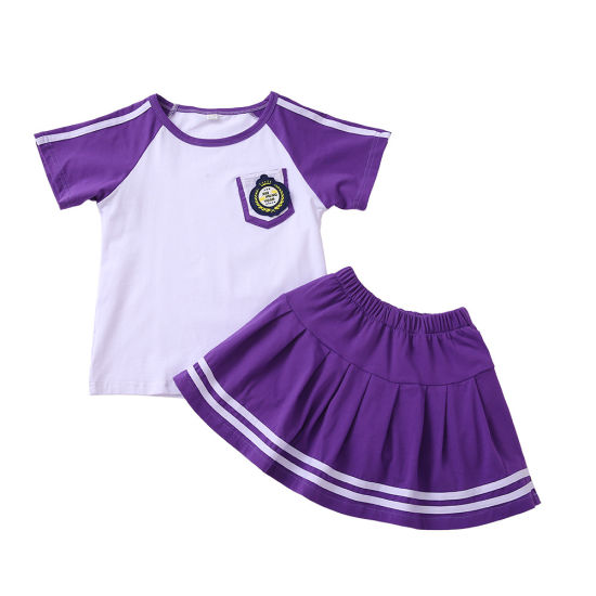 Custom Fashion School Sport Wear for Kindergarten Kids Uniform Cotton School Tshirts Skirt Shorts