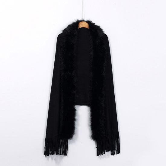 Hair Collar Fringed Knitted Cardigan Shawl Jacket