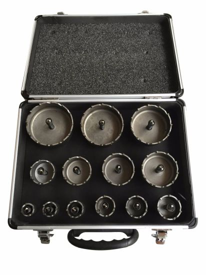 13PCS Set Core Drill Hole Saw and T. C. T Drill Bits HSS Step Drill Straight Flute M35, M2, Power Tool