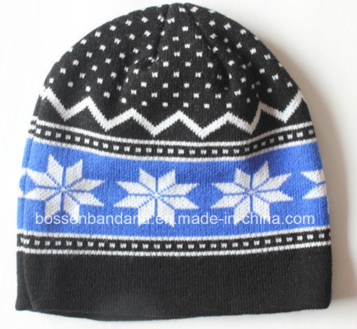 Factory Produce Customized Design Jacquard Blue Knitted Acrylic Cuff Beanie Cap