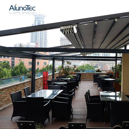 Restaurant PVC Retractable Pergola Patio Awning Covers System With LED Light