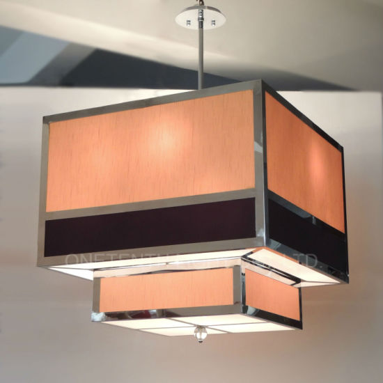 Custom Square Hotel Decorative Beige Black Fabric Shade Pendant Light at Banquet Hall