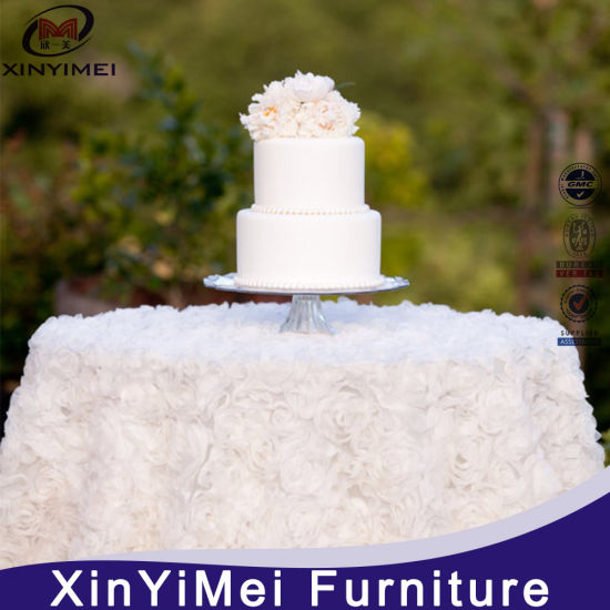 White Color Round Wedding Rosette Satin Table Cloth pictures & photos