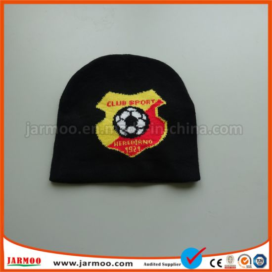 Black Football Winter Acrylic Knitted Beanie Cap