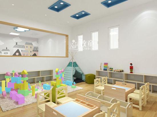 Modern Kindergarten Layout Design Kids Classroom Wooden Furniture