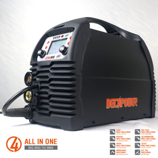 Xtramig 4-in-1 IGBT 200 AMP CO2 No Gas MMA/TIG/Mag/MIG Welding Machine with LCD
