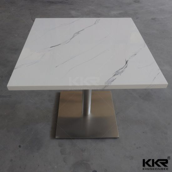 White Artificial Marble Restaurant Chairs And Tables