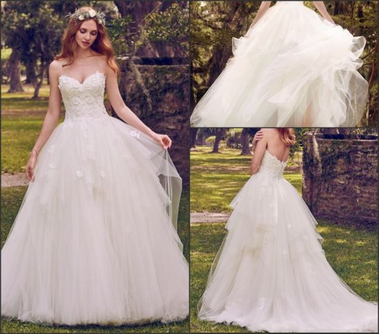 China Lace Wedding Gowns Puffy Appliqued Wedding Dresses Strapless ...