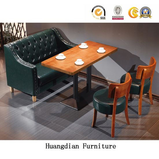 Modern Restaurant Furniture Dining Table And Chairs Coffee Shop PU Leather Booth  Set (HD1672)