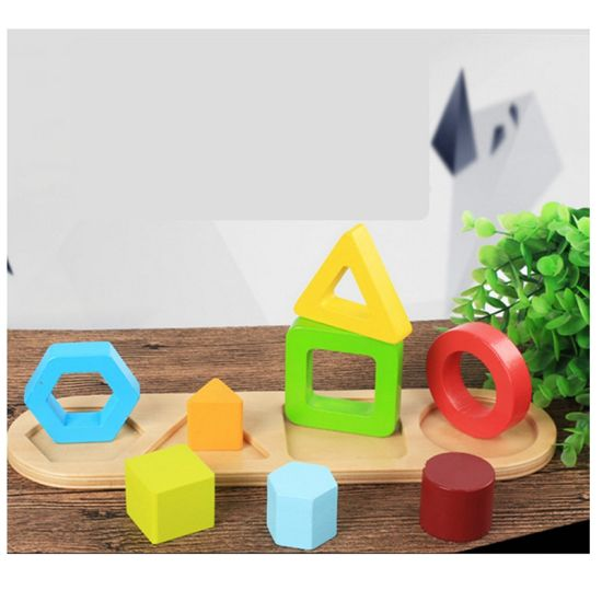 China New Wooden Kids Educational Geometric Shapes Colors Sorter ...
