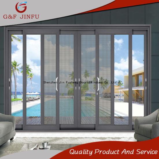 China multi panel exterior double glass aluminium sliding door with multi panel exterior double glass aluminium sliding door with insect screen planetlyrics Image collections