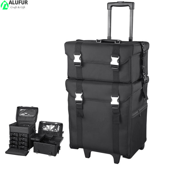 2in 1 Rolling Makeup Case Artist Cosmetic Organizer Storage Travel Train Case