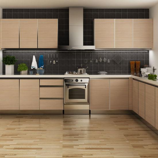 China Tanzania Project Oak Grain Melamine Wooden Modular Kitchen Cabinets Op14 M07 China Kitchen Cabinets Kitchen Furniture