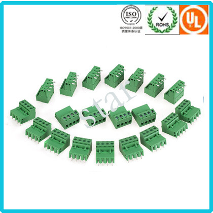 Custom 5.0 mm Pitch Screwed 3 Pin Green PCB Terminal Block pictures & photos