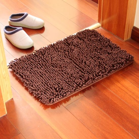 China Popular Rectangle Shape Chenille Floor Mats For Office Chairs