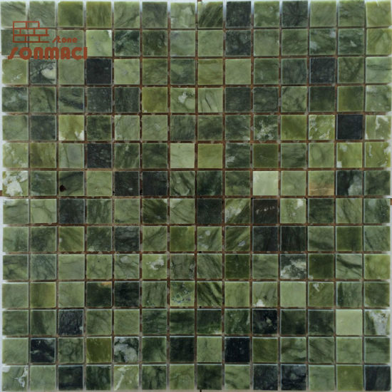 China Green Color Small Square Marble Mosaic Tiles For Kitchen China Marble Mosaic Marble Mosaic Tiles