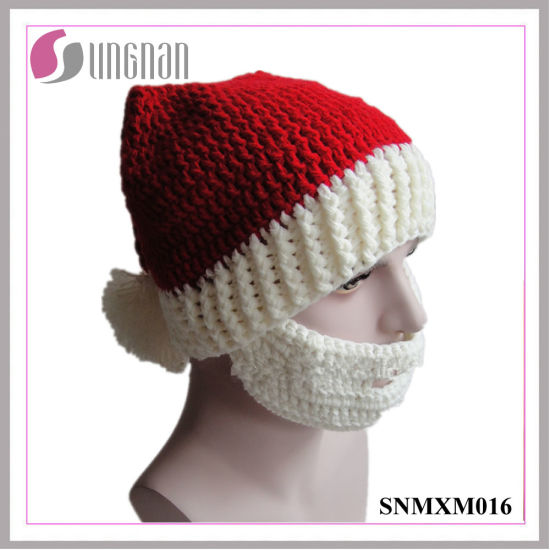 Creative Christmas Crocheted Hat Hand-Knit Santa Claus Beard Cap pictures    photos 034bb5f887a7