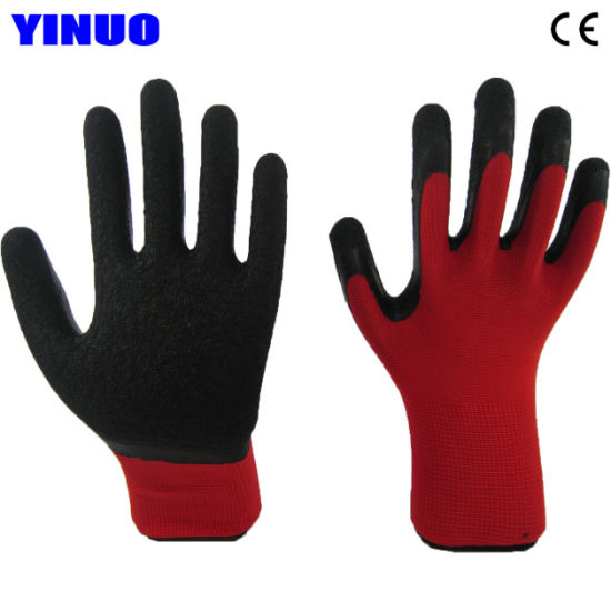 Polyester Shell Palm Latex Coated Industrial Safety Gloves