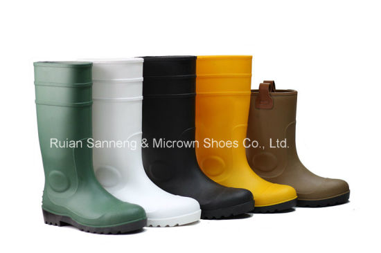 Yellow PVC Rain Boots with Steel Toe Cap (SN1256) pictures & photos