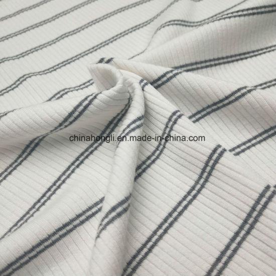 4*2 Rib Yarn Dye R/T/Sp 68/27/5 250GSM Knitting Fabric with Good Stretch for Lady's Dress