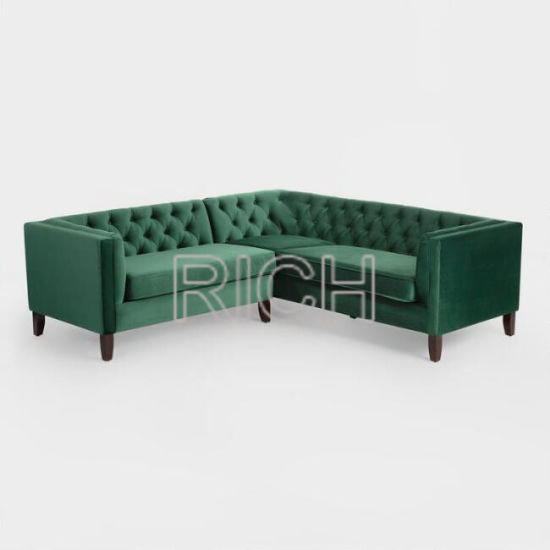 Forest Green Wooden Frame Velvet Corner Sectional Sofa Pictures U0026 Photos