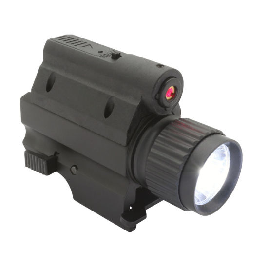 Tactical Compact Gun Mounted Flashlight LED Torch with Red Laser