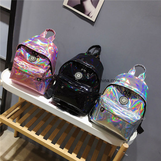 c39521b621 IEC Laser Women Teenage Girls Leather Holographic Backpack School Bags