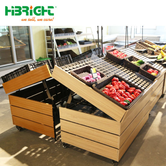 China Wooden Supermarket Vegetable Fruit Display Stand China