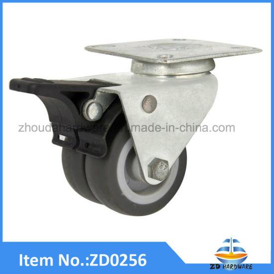 Tpr Twin Wheels Castor Furniture Casters Double Heavy Duty Rollers