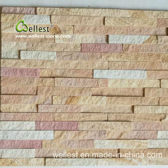 Sy-154 Yellow Wood Sandstone Culture Stone for Wall Cladding&Wall Covering