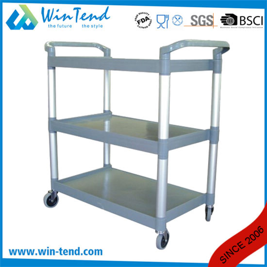 3-Tier Small Size Plastic Trolley for Hotel Using with Favourable Price pictures & photos