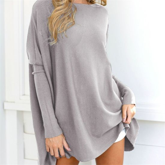 Baggy Sleeve Loose Fit Sweather Shirts Cotton Tunic Women Solid Knit Blouse