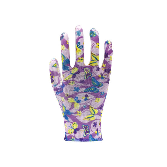 Flower Color Polyester Liner White PU Coated Garden Work Gloves