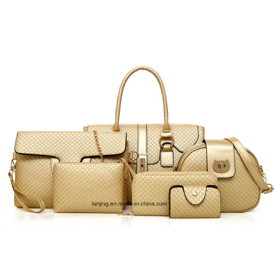 e170ca288d Key Purse Cosmetic Wallet Litchi Grain Leather Travel 6 Piece Set Crossbody  Bag Women′s Lady Tote Handbag