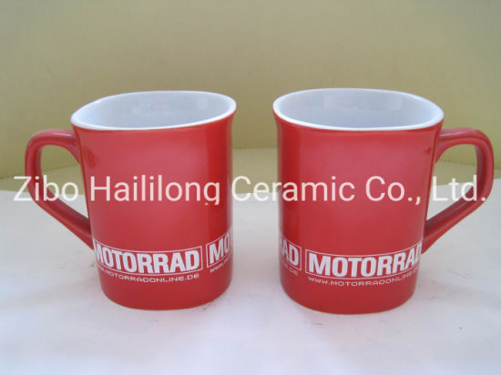 9oz Square Low Temerature Red Mug Ceramic Red Cup