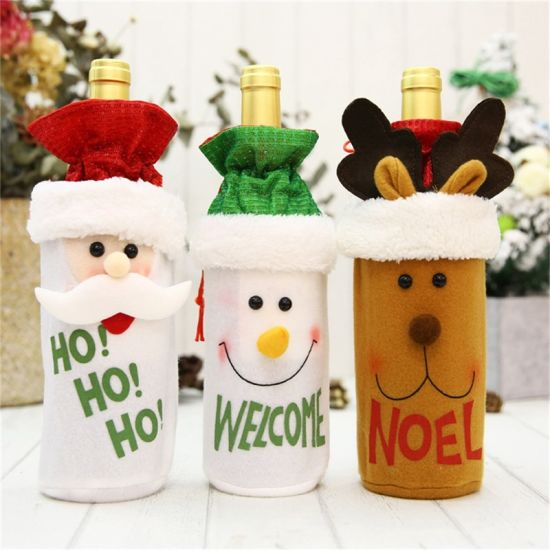 Party Table Decors Wine Cover Christmas Decorations Santa Claus Snowman Gift pictures & photos